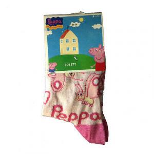 PEPPA PIG Calzini lunghi rosa farfalle taglia 23/26 80%cotone 15%poliammide 5%el