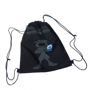 PICKWICK Sacca zaino coulisse in tessuto nero disegno grigio 36,5x42 cm