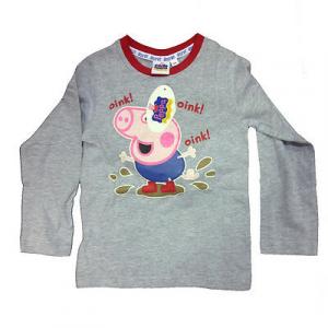 PEPPA PIG maglia maniche lunghe grigia chiara e bordi rossi stampa da bambino