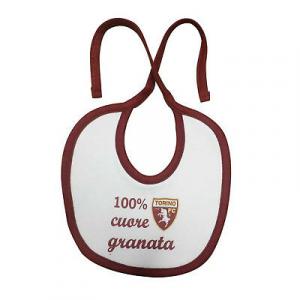 TORINO FC bavaglino bavetta in cotone bianco 100% cuore granata bordato granata