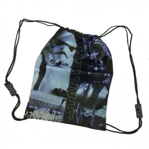 STAR WARS Sacca zaino coulisse in tessuto stampato morbido nero 38x30 cm