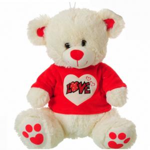 Peluche AMORE orso beige 32cm seduto maglia rossa con scritta love glitter su cu
