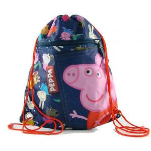 PEPPA PIG sacca blu fantasia effetto ginsato 34x28,5 cm da bambino