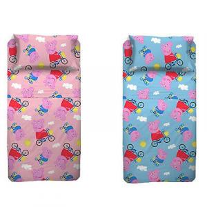 PEPPA PIG completo letto 3 pezzi in cotone due colori da bambino e bambina