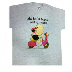 T-shirt umoristiche PECORA NERA 100% cotone grigia CHI HA LA TESTA USA IL CASCO