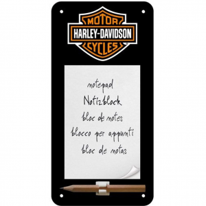 HARLEY DAVIDSON block notes +matita calamitato nero con stemma 20x10 cm ufficial