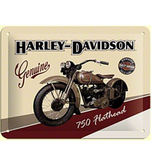 HARLEY DAVIDSON cartolina metal card in latta moto color beige 10x14cm ufficia