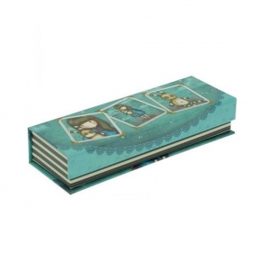 GORJUSS Portapenne e matite pencil box in cartone stampato azzurro 20x7x4 cm
