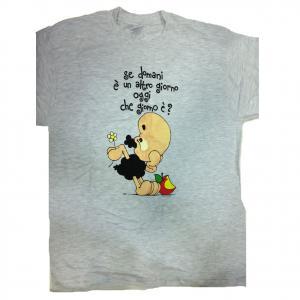 T-shirt umoristiche PECORA NERA 100% cotone grigia SE DOMANI è UN ALTRO GIORNO..