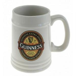 Boccale Guinness ceramica crema con logo in rilievo 500 ml