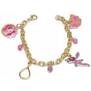 MIA E ME braccialetto dorato con 4 ciondoli 3 perline colorate da bambina