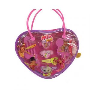MIA E ME borsetta a forma di cuore con 2 fermagli 2 elastici spazzolina e pettin