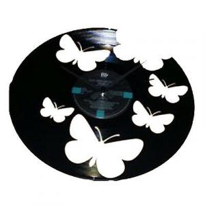 Orologio da parete in vinile con farfalle incise a laser
