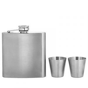 Fiaschetta in metallo da 150 ml con due bicchierini da 25 ml