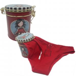 SANTORO GORJUSS MUTANDINE SLIP DONNA VARIE TAGLIE COLORE ROSSO CON BOX METALLO
