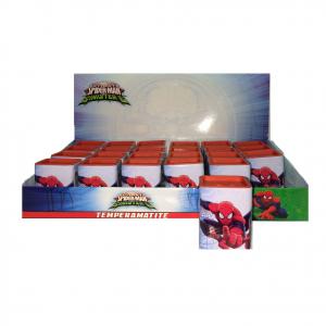 SPIDERMAN UOMO RAGNO temperamatite quadrato scatola in latta due grandezze