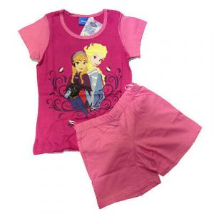 FROZEN pigiama corto t-shirt+pantaloncino fucsia in cotone da bambina