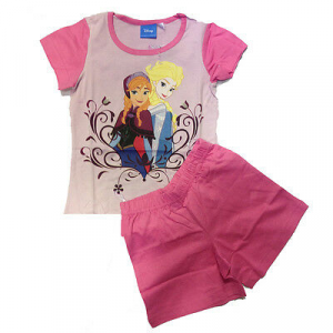 FROZEN pigiama corto t-shirt+pantaloncino rosa in cotone da bambina