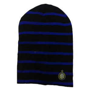 INTER cappello nero e blu con stemma ricamato applicato in maglina da uomo