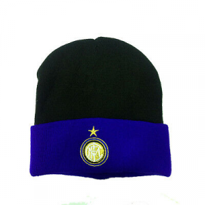 INTER cappello nero e blu bicolor con stemma ricamato da uomo
