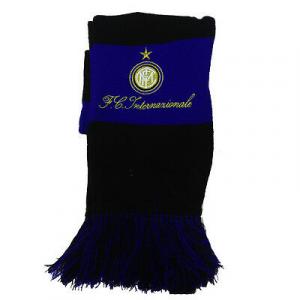 INTER sciarpa di lana a righe con stemma e scritta ricamata da adulto e bambino