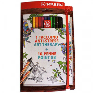 ART THERAPY 1 TACCUINO ANTI-STRESS 10 pennarelli sfumati STABILO POINT 88