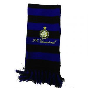 INTER sciarpa di lana nero blu con stemma e scritta ricamata da adulto e bambino