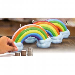 Salvadanaio arcobaleno in ceramica con tappo recupera monete dim 21x11x6cm