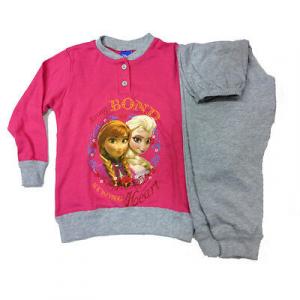 FROZEN pigiama lungo maglia+pantalone fucsia e grigio taglia 3/4 anni in cotone