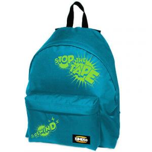 Zaino scuola KOOKIE  24 litri turchese con scritta  verde acido doppia tasca