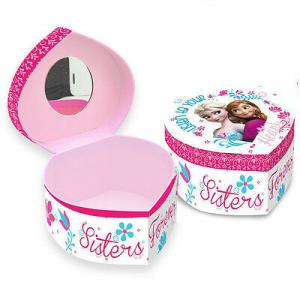FROZEN scatolina a cuore portatutto con specchio in carta stampata da bambina
