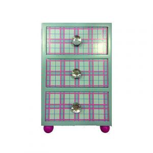 FROZEN mini-cassettiera in legno celeste con 3 cassetti pomelli con brillantini