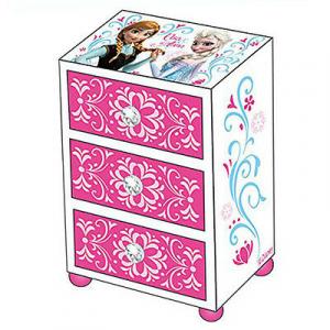 FROZEN mini-cassettiera in legno fucsia con 3 cassetti pomelli con brillantini