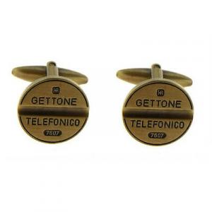 Gemelli uomo gettone telefonico in metallo dorato vintage