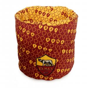 ROMA Porta oggetti giallorosso trapuntato, cotone stampato lavabile in lavatrice