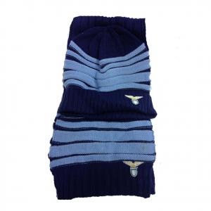 LAZIO set junior sciarpa+cappello blu e azzurro a righe in lana prodotto ufficia