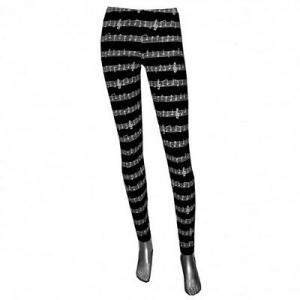 Leggings nero con spartito musicale elasticizzati. Taglia unica. Made in Thailan