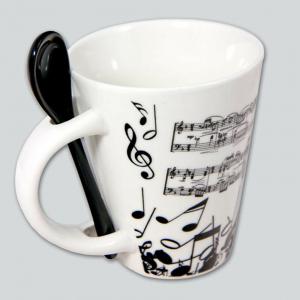 Tazza mug con SPARTITO e NOTE MUSICALI in ceramica smaltata con cucchiaino nero