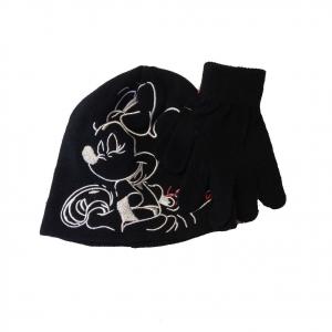 MINNIE set 2 pezzi neri cappello ricamato+ guanti in morbida e calda lana bambin