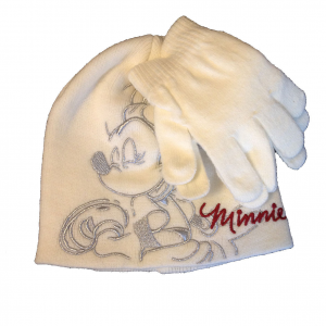 MINNIE set 2 pezzi crema cappello ricamato+ guanti in morbida e calda lana bamb