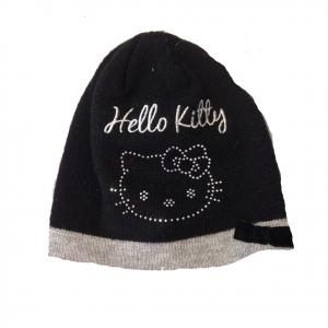 HELLO KITTY cappellino ricamato con glitter in lana nero con fiocchetto da bambi