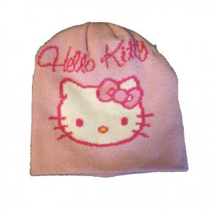 HELLO KITTY cappellino in morbida e calda lana rosa e fucsia da bambina