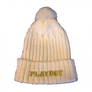 PLAYBOY cappellino ricamato dorato con pom-pom in morbida lana crema da donna