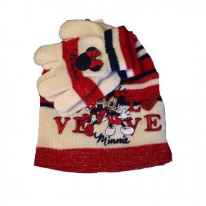 MINNIE set 2 pezzi cappello ricamato+ guanti in morbida e calda lana bambina