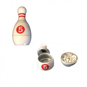 Tritatabacco Grinder birillo bianco 3parti regalo uomo articolo per fumatori 9cm