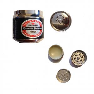 Tritatabacco Grinder lattina nera 3 parti regalo uomo articolo per fumatori 4,5