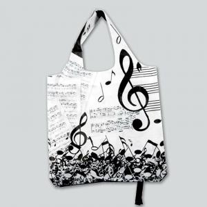borsa per spesa MOTE MUSICALI & SPARTITI plastificata shopper richiudibile