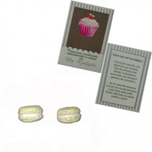 Coppia orecchini per buco in fimo macaron giallo fatti a mano nickel free