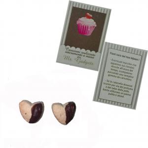 Coppia orecchini per buco in fimo biscotto a cuore fatti a mano nickel free