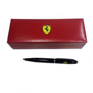 Penna nera FERRARI a sfera con scatola regalo in eco-pelle rossa